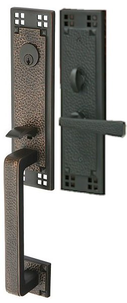 Emtek craftsman grip mortise entry set hardwareexpedited for Arts and crafts exterior door hardware