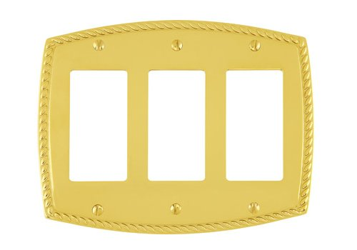 triple gang rope switch plate brass collection by emtek